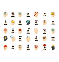 human idea icon set flat style vector image