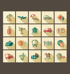 icons tourism and travel in retro style vector image