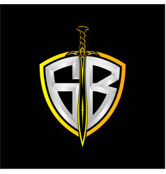 Initials g b is a shield decorated vector