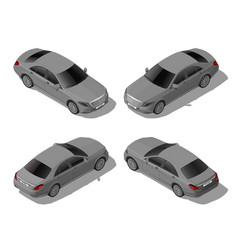 Isometric gray sedan car set from different sides vector