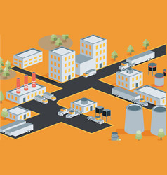 Isometric view industrial district vector