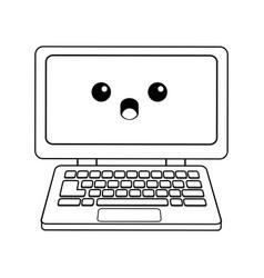 kawaii laptop computer device technology wireless vector image