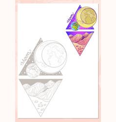 Landscape of planet rhombus moon vector