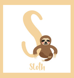 Letter s vocabulary sitting sloth vector
