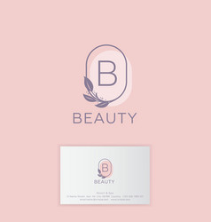 Logo beauty b letter branch with leaves vector