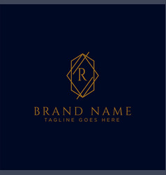 Luxury logotype premium letter r logo with golden vector
