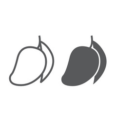 mango line and glyph icon fruit and vitamin vector image