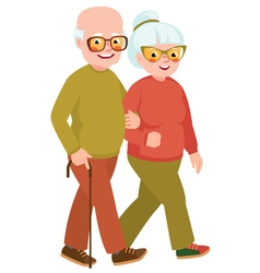 Married senior couple on a walk vector