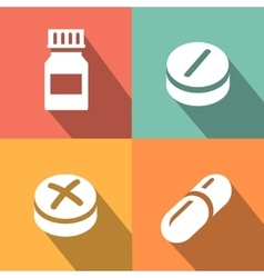 Medicine icon pills or tablets capsules vector image