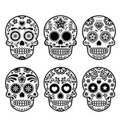 Mexican sugar skull dia de los muertos icons set vector