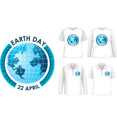 mock up shirt with earth day icon vector image