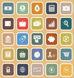 Money flat icons on orange background vector image