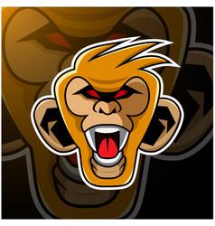 monkey head mascot logo design vector image