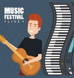 music festival live with man playing acoustic vector image