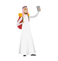 Muslim traveler man with backpack making selfie vector