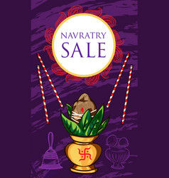 Navratry sale concept banner cartoon style vector