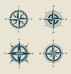 Old or retro compass or vintage wind roses vector
