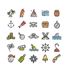 pirate signs color thin line icon set vector image