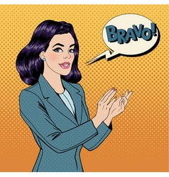 Pop Art Woman Applauding with Expression Bravo vector