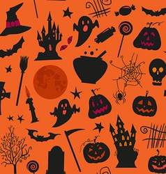 Seamless halloween pattern with castles candles vector