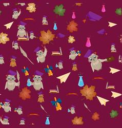 Seamless pattern 3 flat on school theme bird owl vector
