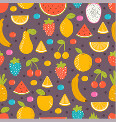 seamless pattern with hand drawn fruit summer vector image