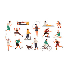 set funny people performing sports activities vector image