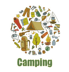 set hand drawn sketch camping equipment symbols vector image