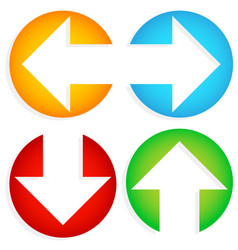 set of colorful left-right up-down arrows cut in vector image
