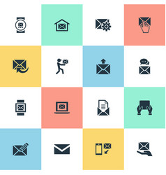 set of simple mailing icons vector image