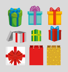 set present gift with ribbon style vector image