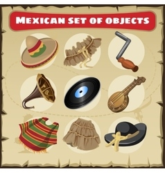 set traditional mexican things vector image
