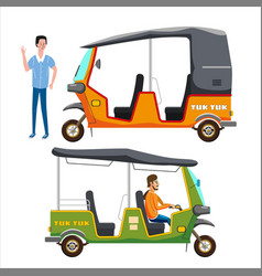 Set tuk tuk asian auto rickshaw three wheeler vector