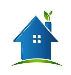 simple house green environment icon vector image