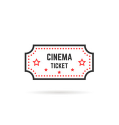simple linear cinema ticket icon on white vector image