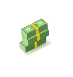 Stack of green dollar paper banknotes in packs of vector