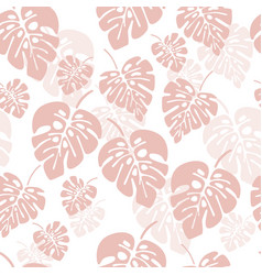Summer seamless pattern with pink monstera vector