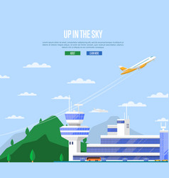 Up in the sky concept with airplane takeoff vector