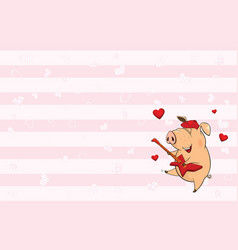 valentines card with cute pig vector image