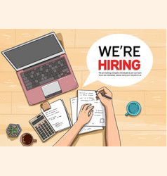 We are hiring with workstation colorful vector