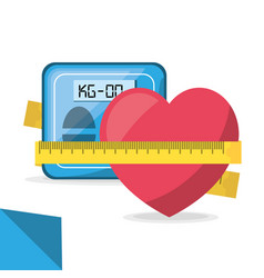 weighing mashine and apple with measuring vector image