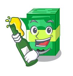 With beer set money in packing bundles cartoon vector