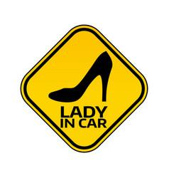 Woman car driver sticker female in automobile vector