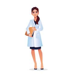 woman doctor young nurse veterinarian with folder vector image