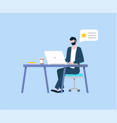 worker with laptop working in office businessman vector image