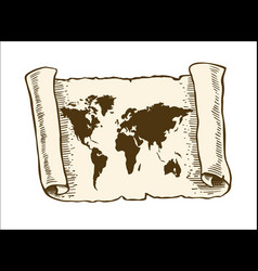 world map on old papyrus paper vector image