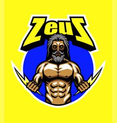 Zeus and lightning bolt vector
