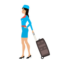 cartoon stewardess girl with a suitcase vector image