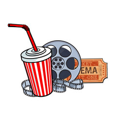 cinema attributes film reel ticket soda water vector image vector image