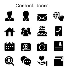 contact icons set for social network vector image
